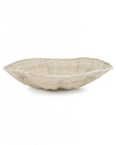 Corbeille en palmier & sisal Shell fait main - pièce unique