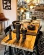 Table EN TECK & métal brossé BLOK