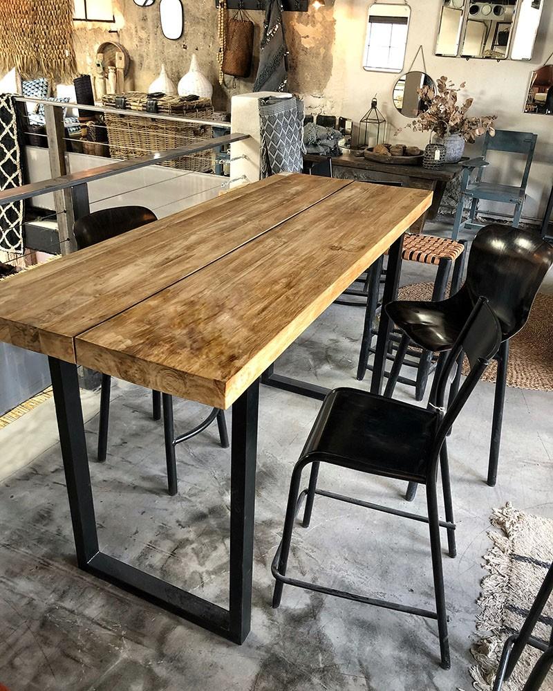 Table mange debout en teck & métal brossé Blok