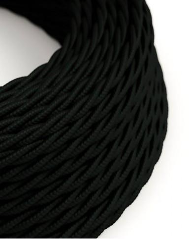 Câble électrique tissu torsadé Noir - effet soie