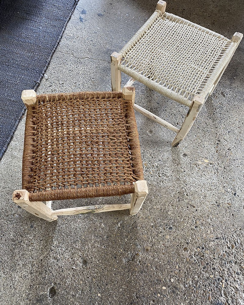 Tabouret en bois d'Olivier & Corde Solo Stool Terracotta