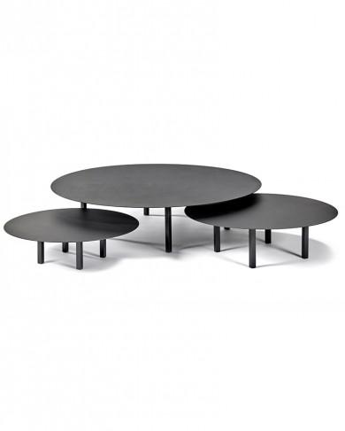 Table basse ronde métal noires