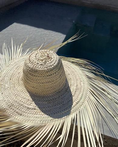 Chapeau à franges en paille