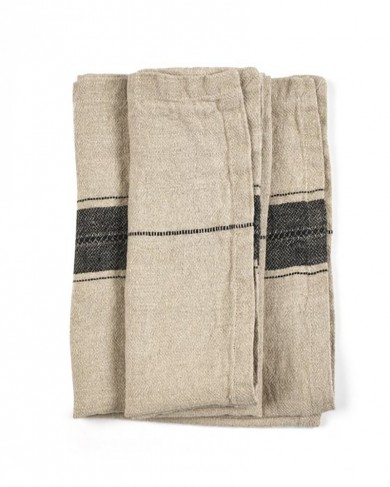 Serviette Thompson Black Stripe en Lin