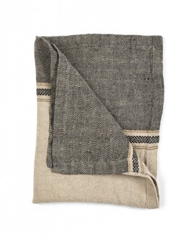 Serviette Thompson Camel Stripe en Lin