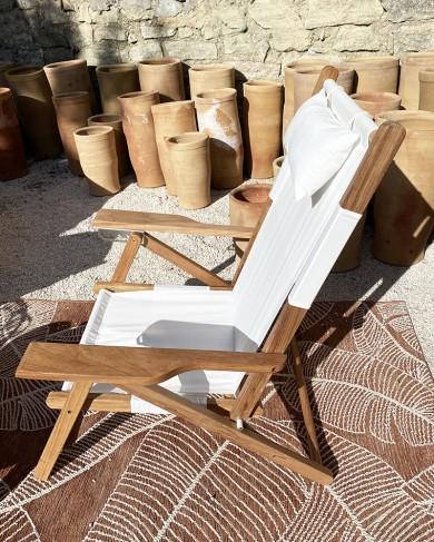 Fauteuil d'extérieur/de plage Tommy en bois & coton