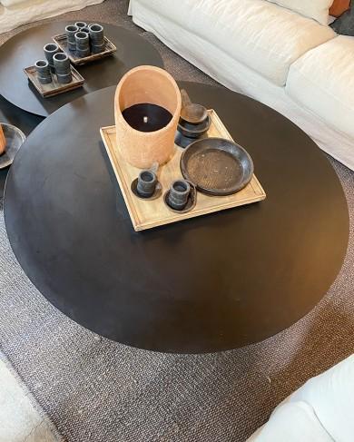 Table basse Métal ronde noir - grand modèle