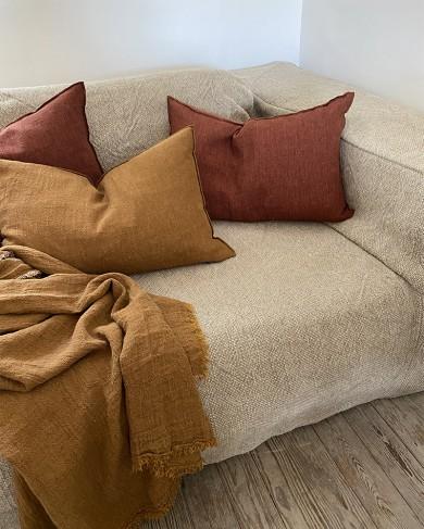 Coussin Vice Versa rectangulaire en crépon de lin lavé Maison de Vacances