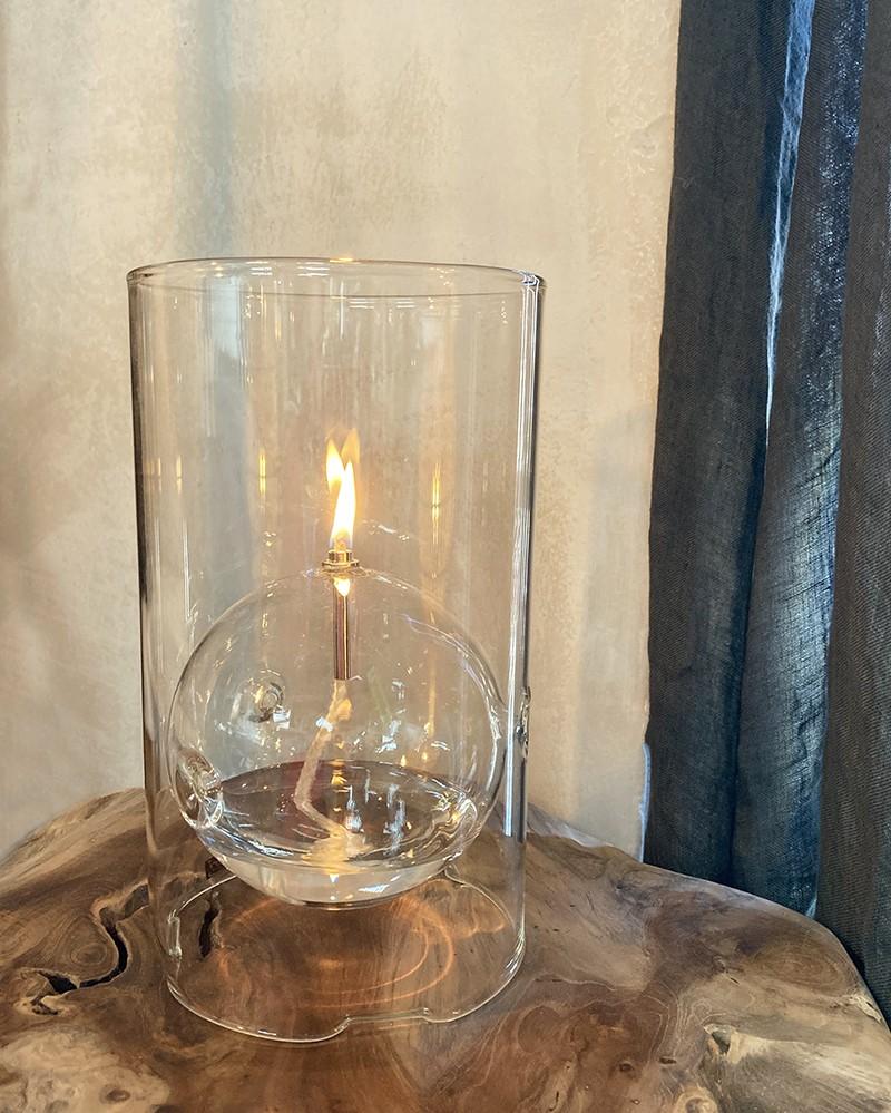 Bougie/Lampe à Huile photophore en verre