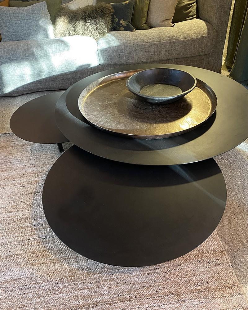 lot de 3 tables basses Métal ronde noir
