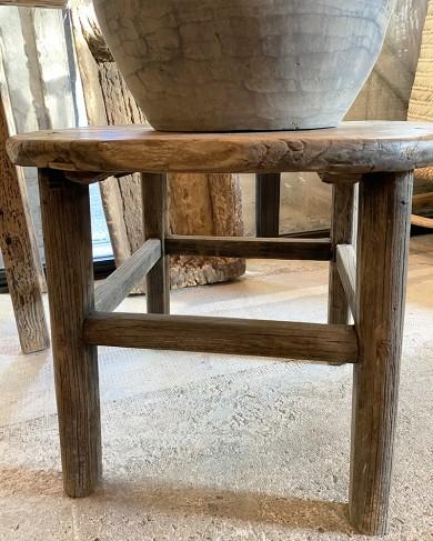 Bout de canapé rond en bois massif - pièce unique