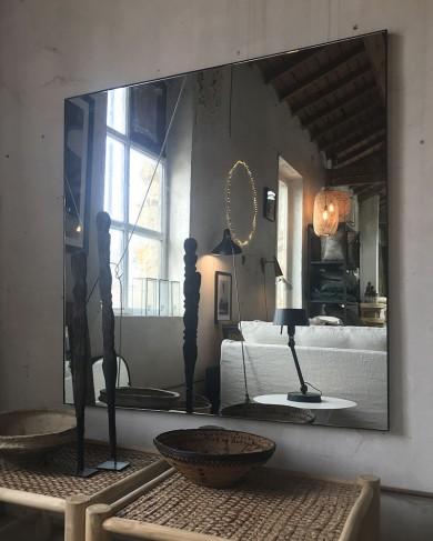 Miroir carré palace en fer noir